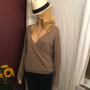 100% Cashmere faux wrap around sweater